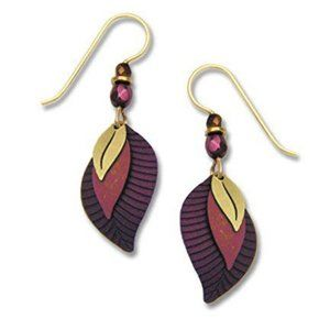 Adajio Wine Plum & Gold Tone Leaf 3-Part Earrings